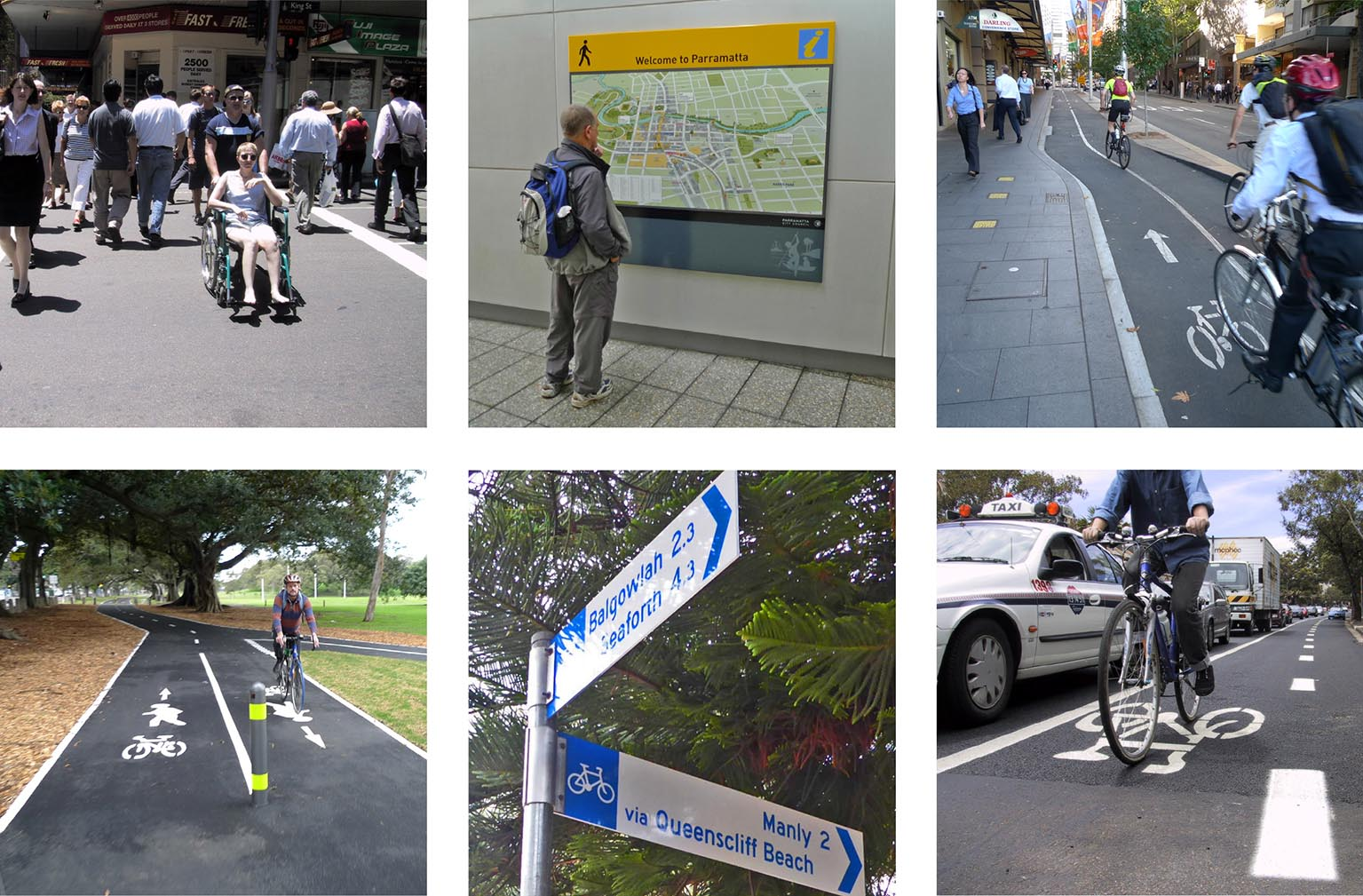 Collection of images of people using a wheel chair, looking at wayfindging and a two off road shared paths